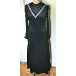 Vintage Dresses - Vintage 1970s velvet black & silver maxi dress